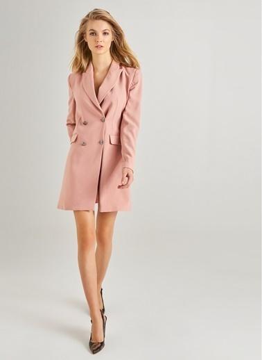 Monamoda Kruvaze Düğme Detaylı Ceket Elbise Pudra